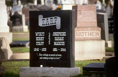 COLMA, CA 990105 - Grave of Wyatt Earp and his wife, Josephine Marcus Earp, at Hills of Eternity Cemetery, Colma, CA.