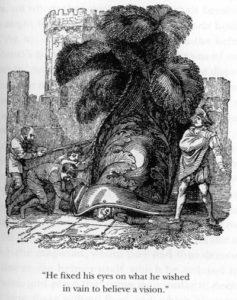 Γκραβούρα που απεικονίζει το θάνατο του Πρίγκιπα Κόνραντ όταν συνθλίβει από ένα γιγάντιο κράνος.